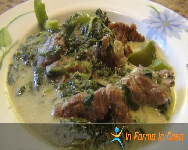 Carne di manzo in crema di spinaci